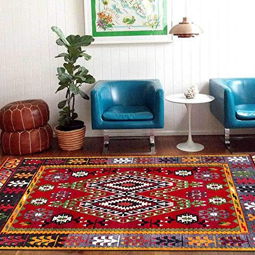 Teppich Modern Designer Teppiche Ethnischer Stil des großen roten roten Musters Schlafzimmer Zimmer Teppich Sofa Tisch Kind Krabbeln Matte 80x120CM (2ft7 x3ft11)