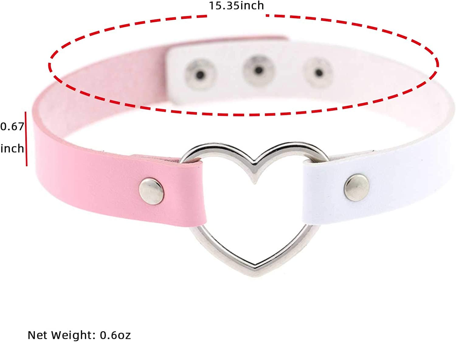 Heart Charms Shape Chocker Colorful PU Leather Choker Necklace Punk Gothic Collar Adjustable Necklace Jewelry Rhinestones Collars Chokers for Women Girls Cosplayer