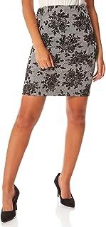 Roman Originals - Falda de mujer de terciopelo, estampado de flor, hasta la rodilla, elegante, formal, fiestas, disfraces,...