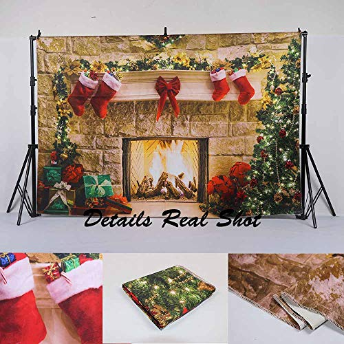 Funnytree 8x8ft Durable Christmas Fireplace Backdrop No Wrinkles Fabric Interior Vintage Xmas Tree Stockings Photography Background Portrait Photobooth Party Banner Decorations Photo Studio Props