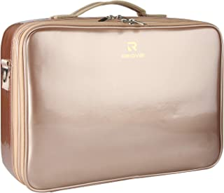 Relavel Professional Makeup Train Case Cosmetic Bag Brush Organizer and Storage 16.5 inches Travel Make Up Artist Box 3 Layer Large Capacity with Adjustable Strap (Rose Gold)