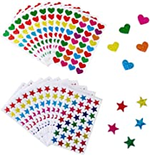 760 Count Colorful Shiny Sparkle Stickers,Foil Heart and Star Metallic Stickers for DIY Crafts,Scrapbooking or Embellishment