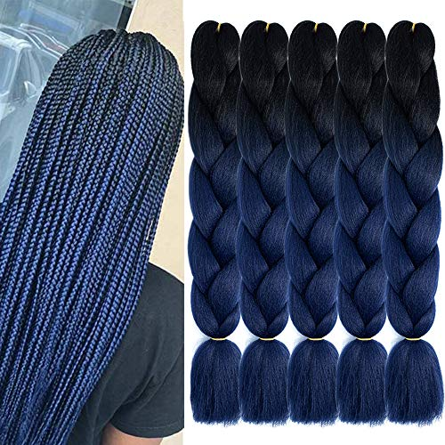 KETHBE 5Pcs Ombre Jumbo Braiding Hair Crochet Twist Hair Extensions 24 inch Box Braids Heat Resistance kanekalon Synthetic Fiber Hair for Women(Black to Dark Blue)