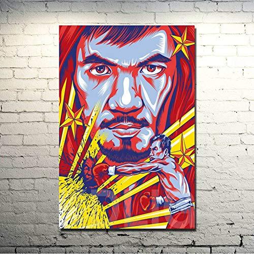 Wfmhra Manny Pacquiao Boxer Star Art Poster Print Sports Boxing Picture para la decoración de la Sala de Estar 50x75cm Sin Marco