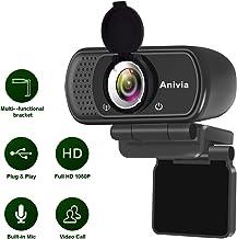 Webcam Full HD 1080p autofoco portátil Webcam micrófono Incorporado Sonido estéreo Dual Flexible Giratorio Clip Mini Plug and Play videollamada videoconferencias cámara de Ordenador Negro