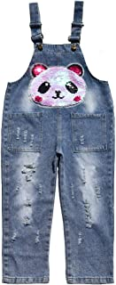 Peacolate 3-12Years Big Girls Jumpsuit&Rompers Overalls Blue Denim Color Changeable Sequin Pants