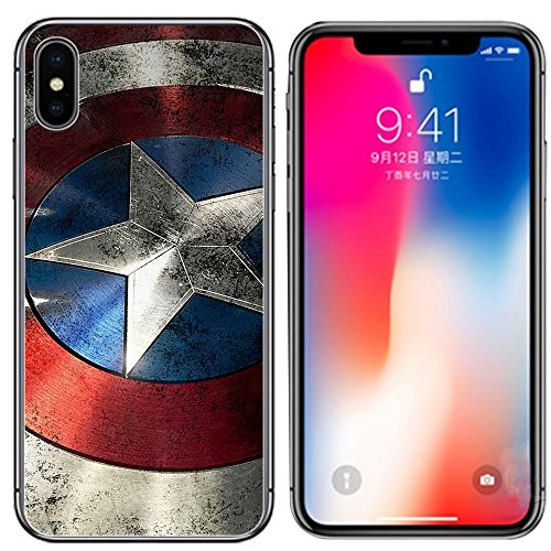 Ailiber Case for iPhone Xs and iPhone X, Captain America Star Retro Design Slim Light Soft TPU Shockproof Bumper Protective Cover for Apple iPhoneXs 2018 / iPhoneX 5.8inch - Captain Shield