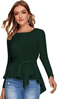 ROMWE Women's Short Sleeve Elegant Peplum Ruffle Hem Blouse Shirts Top