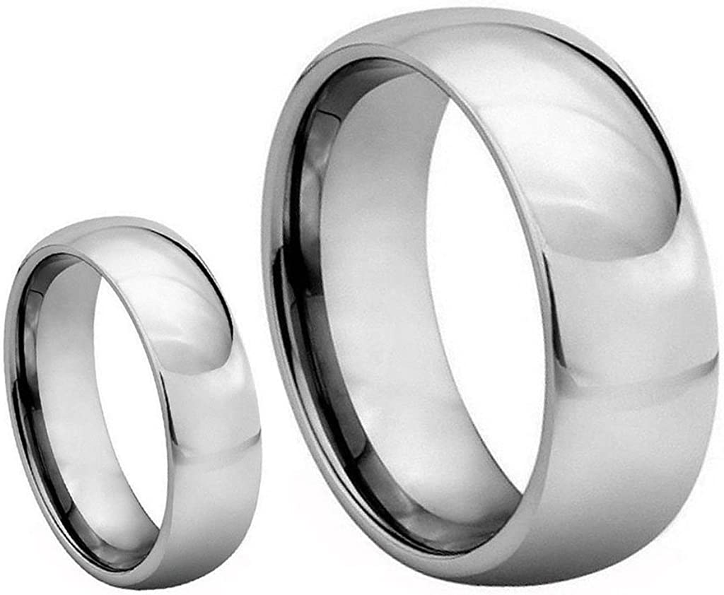 His Her's 8mm 6mm Cheap Gorgeous bargain Polished Carbide Domed Shiny Weddin Tungsten