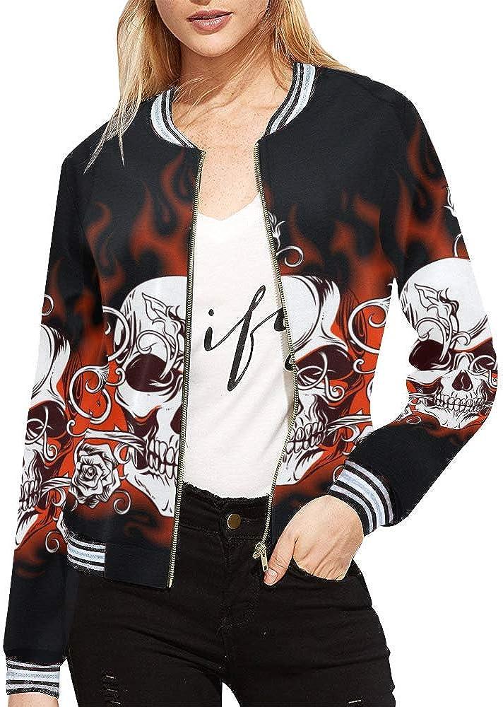 InterestPrint Women's Stand Collar Zip up Fire Skull Print Bomber Jacket Coat