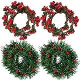 Decoración de mesa navideña, 8 piezas Coronas de velas Anillo de vela de navidad de bayas artificiales rojas coronas de decoración para pilares centros de mesa de Navidad decoración de fiestas