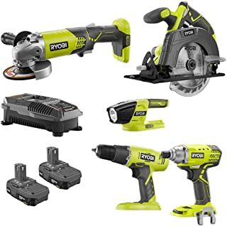 Ryobi 18-Volt ONE+ 5 Tool-Combo Kit with Drill, Circular Saw, Grinder, Impact Driver, Light, (2) 1.5 Ah Batteries, and Charger