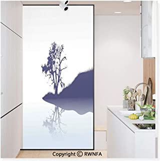 Decorative Privacy Window Film Silhouette of Lonely Tree by Lake with Mirror Effects Melancholy Illustration No-Glue Self Static Cling for Home Bedroom Bathroom Kitchen Office,Indigo Baby Blue