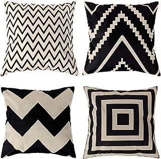 4 Pack Fundas de Cojín Algodón Lino Throw Pillow Case, Decorativa Cuadrada Almohada Caso Cojínes Funda para Sofá Cama Coche Sillas Decoración Cubierta, 45x45 cm, Moda Color blanco y negro Geométrico