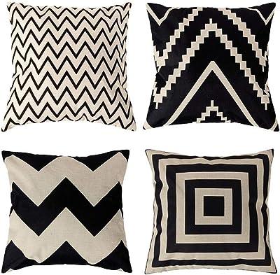 4 Pack Fundas de Cojín Algodón Lino Throw Pillow Case, Decorativa ...