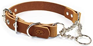 sleepy pup Adjustable Leather Martingale Chain, Limited Slip, Half-Check Chain, Training Dog Collar - Made in Virginia