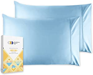 Standard Pillow Cases Set of 2 Soft 100% Cotton Sateen, 400 Thread Count, Cool & Smooth Pillow Cases (Sky Blue)