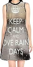 Women¡¯s Sleeveless Scuba Sheath Dress Keep Calm & Love Rainy Days Print Casual/Party/Wedding Dress