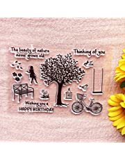 GAWEI Happy Birthday Think of You Tree Life Girl Clear Stamps Sentiments for Card Making and DIY Scrapbooking Transparent Stamps Silicone Stamps Photo Album