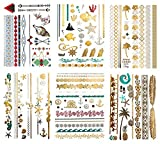 Terra Tattoos Metallic Color Temporary Tattoos - 75 Hawaiian Sea Life Designs in Gold, Silver, and Tropical Colors (6 Sheets), Alana Collection
