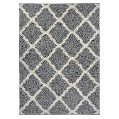 RugStylesOnline Moroccan Trellis Shag Area Rugs, New Shaggy Collection, Grey