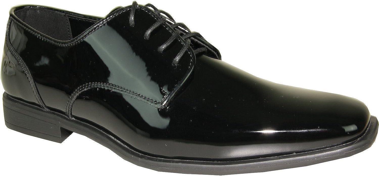 VANGELO Tux-2 Oxford Formal Tuxedo Shoe Plain Pointy Square Toe Black Patent