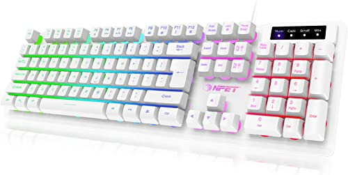 NPET K10 Gaming Keyboard USB Wired Floating Keyboard, Quiet Ergonomic Water-Resistant Mechanical Feeling Keyboard, Ul...