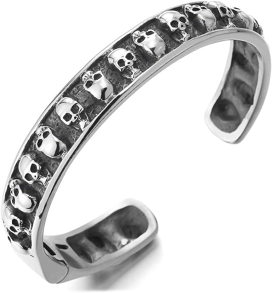 COOLSTEELANDBEYOND New products, world's highest quality popular! Mens Steel Vintage Ranking TOP12 Skulls Bangle Bracele Cuff