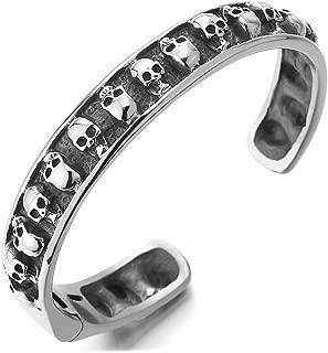 Mens Steel Vintage Skulls Cuff Bangle Bracelet with Spring Clasp, Gothic Punk Rock, Polished