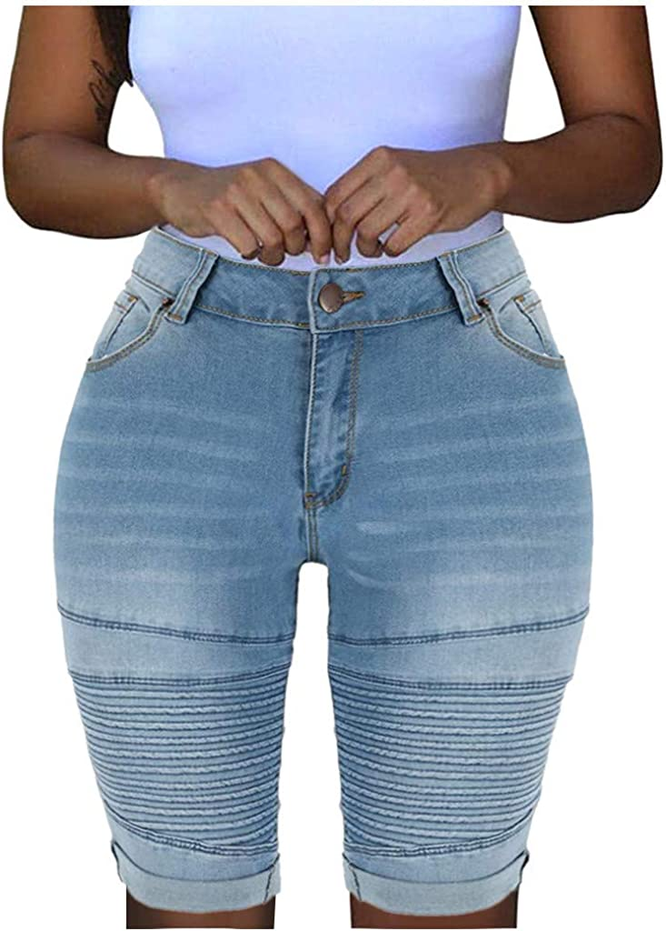 xoxing Women Sexy Personality Ripped Elastic Destroyed Hole Leggings Short Pants Denim Shorts Ripped Jeans(B)