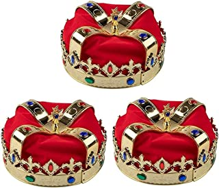 Gold Crown - 3-Pack Royal King and Queen Jeweled Costume Accessories, Adult Party Hats for Halloween, Dress-Up, Birthday E...