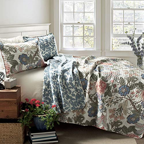 Lush Decor Sydney Quilt Floral Leaf Print 3 Piece Reversible Bedding Set, Full/Queen
