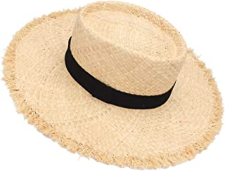 SHENTIANWEI Summer Ladies Big hat, raw Edge, Lafite hat, European and American Fashion hat, concave top (Color : Wheat-Colored)