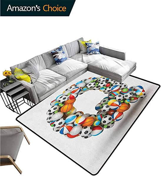 Letter Q Music Area Rug Kilim Typographic Letter Font Design With Various Gaming Balls Athletic Kids Teamplay Durable Rugs Living Dinning Office Rooms Bedrrom Hallway Carpet 6 X 9