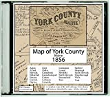 Map of York County, Maine on CDROM - 1856 - With Homeowner Names, Old Roads, Place names - Great for genealogy! PDF format