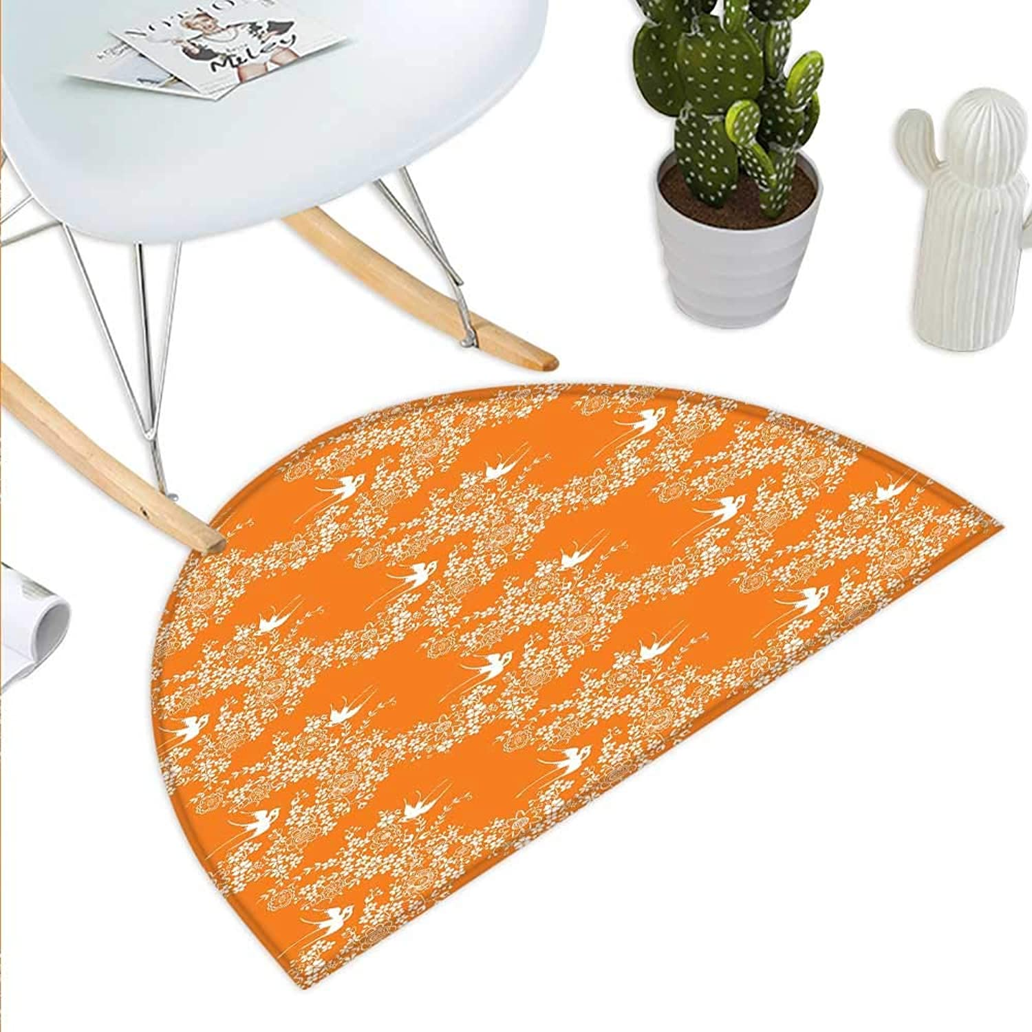 orange Semicircle Doormat Asian Style Spring Meadow Pattern with Branches in Full Blossom with Birds Nature Halfmoon doormats H 39.3  xD 59  orange White