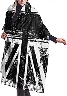 White And Black British Flag England Warm Soft Cashmere Shawl Wrap Scarves Long Scarves For Women Office Worker Travel