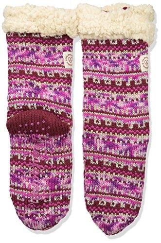 Dearfoams Women's Fancy Fairisle Blizzard Sock RD2002W Slipper, Cabernet, All Medium US