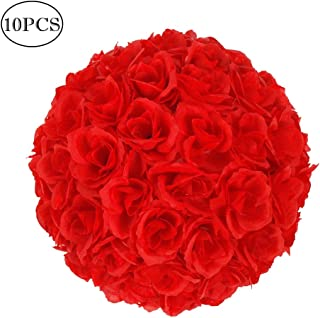 Z ZTDM 10 Pack 10'' Artificial Satin Flower Ball Bouquet Kissing Ball Rose Flower for Wedding Party Ceremony Decoration Centerpieces (Red)