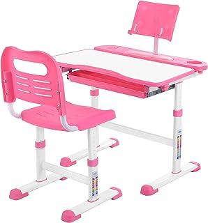 Bureau réglable en Hauteur Sararoom, Bureau Ergonomique pour Enfants avec Chaise, tiroir et Tableau de Lecture (Rose)