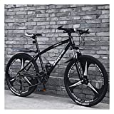 YCHBOS Bicicleta Montaña Adulto 24'/26' Hombre, Bicis Montaña de Acero de Alto Carbono con Doble Freno de Disco, 27-Stage Shift, Suspensión Delantera BloqueableA-24 Inch