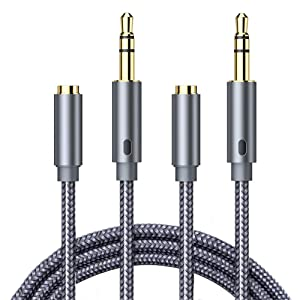Headphone Extension Cable, Goalfish 3.5mm Extension Audio [2-Pack, 6.6ft] Male to Female Aux Adapter Hi-Fi Sound Stereo Extender Cord for Headset, iPhone, iPad, Smartphones, Tablets & More (Grey)