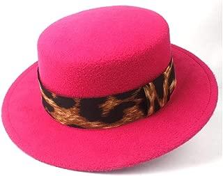 ファッションフラットトップハット メンズ・レディース・紳士ポーク・パイ・パーティー教会ハットサイズ56-58CM用のフラットトップハットつば広ハットFedoraの帽子 ボーターハット (色 : ローズレッド, サイズ : 56-58)