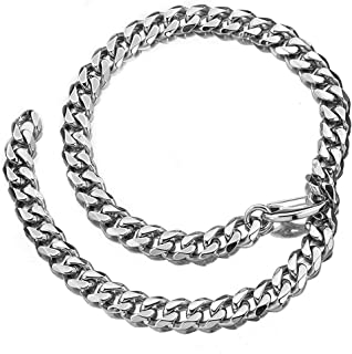 Jxlepe Cuban Link Chain Adjustable Choker with Tail Hip Hop Miami 15mm Big Stainless Steel Curb Rapper Necklace for Men