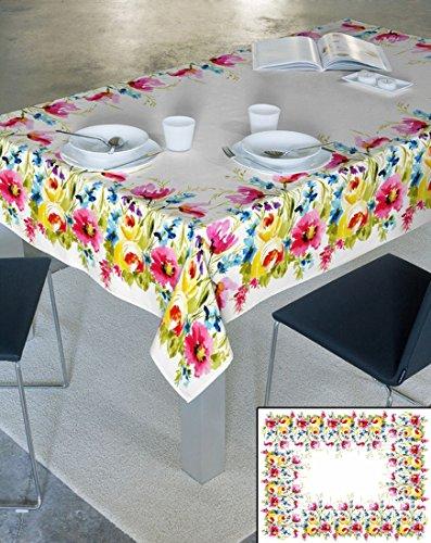 Nappe crème 100 % coton-nappe motif forme avec effet lotus anti-tâches d'entretien pratique fleurs de fleur de pâques printemps sunny style folk, Coton, Crème, 85x85