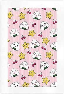 YOLIYANA Anime Various Art Print,Happy Crying Cute Cartoon Rice Balls Cherries Stars Pattern on Stripes Art for Bed Room,7