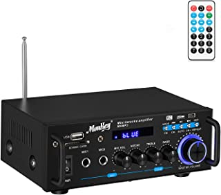 Moukey Bluetooth Home Audio Power Stereo Amplifier - Portable 2 Channel Sound Audio Stereo Desktop Amp Receiver with FM Ra...
