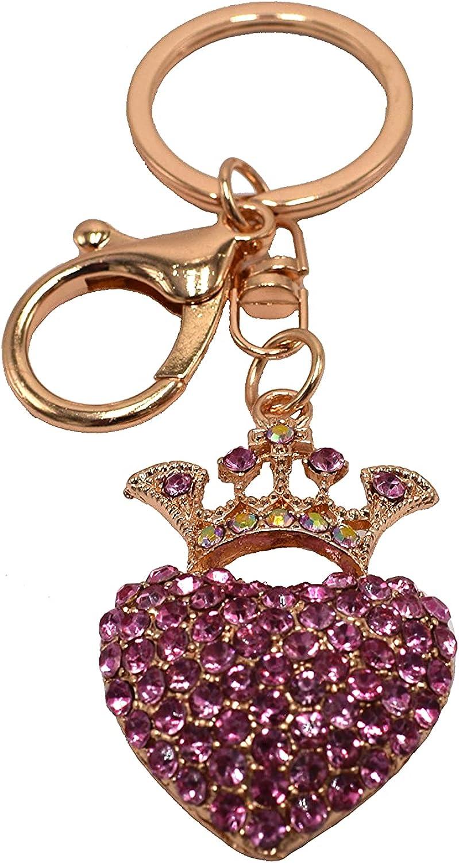 Fashion Rhinestone Love Keychain Crown Heart-shaped Keychain Ladies Keychain Car Keychain Wallet straps, backpack straps, etc...pink