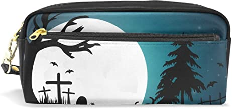 Pencil Case,DEYYA Halloween Moonlight Pumpkin Skyline PU Leather Big Capacity Pen Case Desk Organizer with Zipper for School & Office Supplies - 7.87x2.16x3.35 Inch