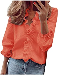 Doufine Women Flounce Casual V Neck Loose Solid Color Blouse Top